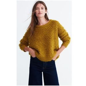 Madewell Popstitch Pullover Sweater Chartreuse XL